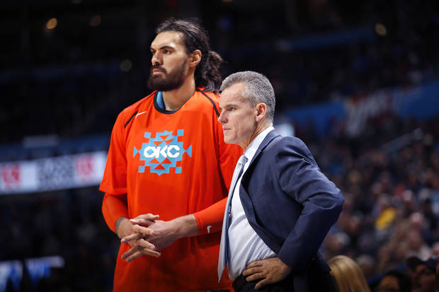 399540704a08 Oklahoma City Thunder head coach Billy Donovan talks with Oklahoma City s  Steven Adams (12)