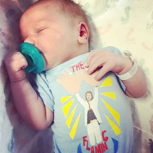 The Flaming Lips frontman Wayne Coyne and his wife Katy announced the birth of their son, Bloom, last week at Mercy Hospital. [Photo via Instagram]