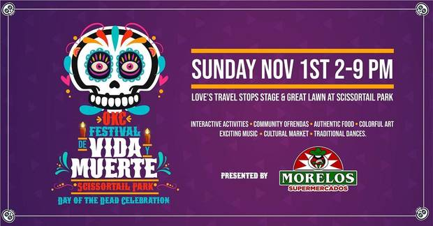 A free Day of the Dead festival is planned today in downtown Oklahoma City's Scissortail Park. [Poster image provided]