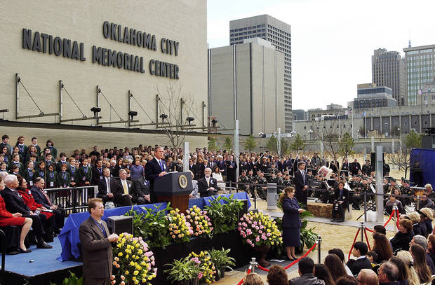 President George W. Bush speaks at the dedication ceremony. Photo by Jim Beckel