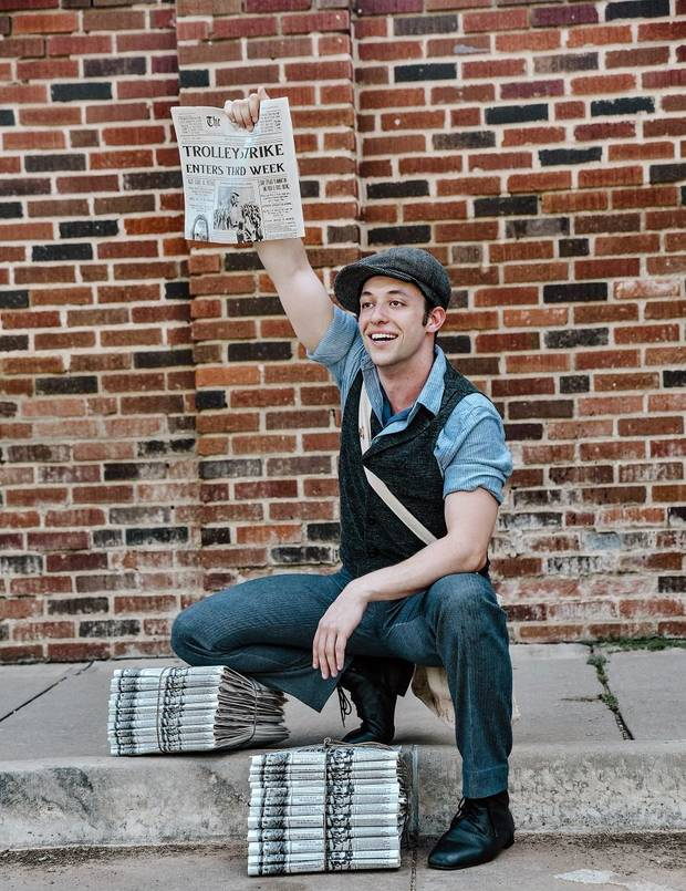 "Sean Watkinson stars in Lyric Theatre's Summer at the Civic production of Disney's ""Newsies."" [Photo by K. Talley Photography]"