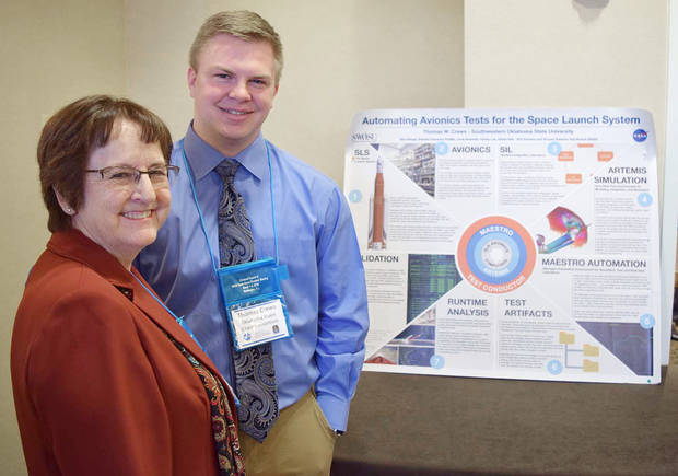 Southwestern Oklahoma State University student Tommy Crews, of El Reno, and Madeline Baugher, faculty member and Oklahoma Space Grant Consortium coordinator, at the National Council of Space Grant Directors meeting in Washington, D.C. [Photo Provided]