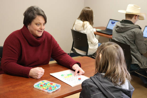 Terry Spencer, EPIC's 2019 Special Education Teacher of the Year, works with a student. [PHOTO PROVIDED]