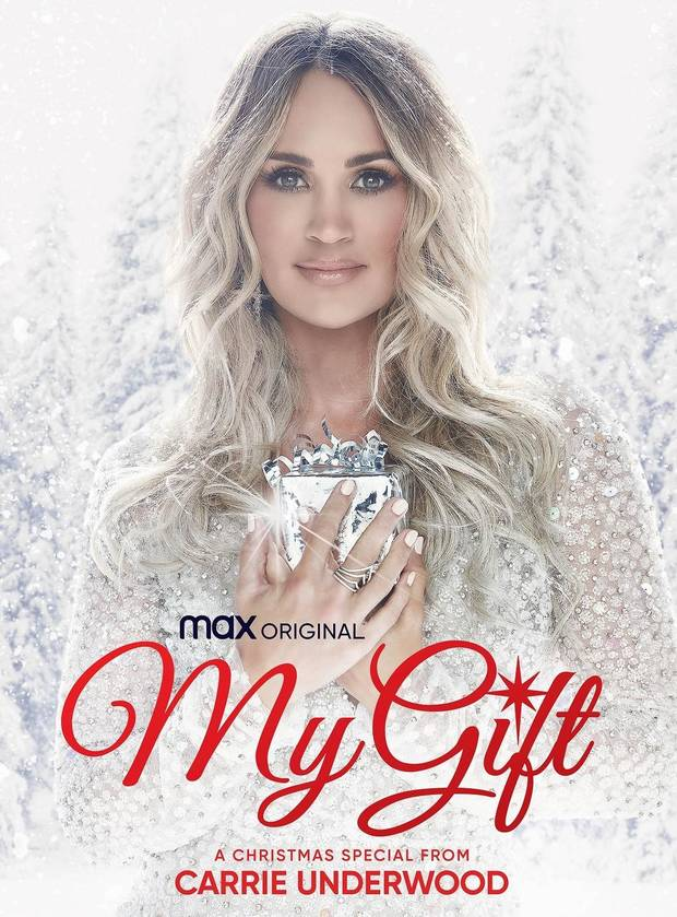 "HBO Max will spread holiday cheer with the Dec. 3 debut of Oklahoma native and country music superstar Carrie Underwood's new music special ""My Gift: A Christmas Special From Carrie Underwood."" [Poster image provided]"
