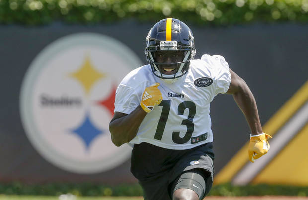 Pittsburgh Steelers wide receiver James Washington (13) performs drills during an NFL football practice at the team's training facility, Wednesday, June 12, 2019, in Pittsburgh. (AP Photo/Keith Srakocic)