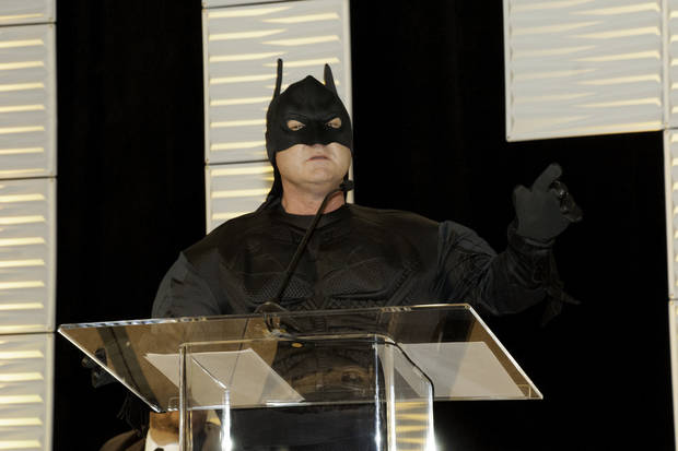 "Dressed as Batman, broadcast journalist Ed Murray serves as emcee for the Whiz Kids Oklahoma ""Seeds of Hope"" event on March 27 at the Cox Convention Center. [Photo provided]"