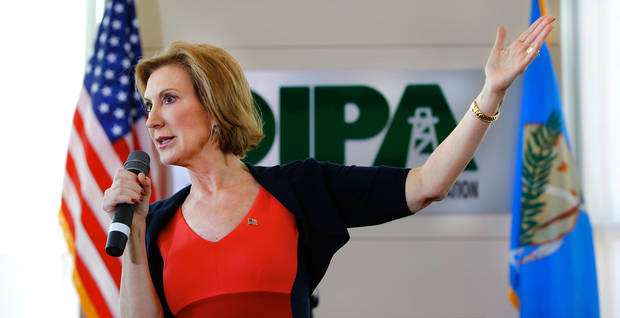 Carley Fiorina speaks to about 200 people Tuesday afternoon, Sep. 29, 2015, at the Oklahoma Independent Petroleum Association office in Oklahoma City. Texas Sen. Ted Cruz announced Wednesday that he chose Fiorina as his running mate for the presidency. Photo by Jim Beckel, The Oklahoman.