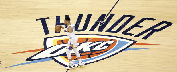 Oklahoma City's Russell Westbrook (0) takes the ball up court during Game 4 in the first round of the NBA playoffs between the Portland Trail Blazers and the Oklahoma City Thunder at Chesapeake Energy Arena in Oklahoma City, Sunday, April 21, 2019. Portland won 111-98. Photo by Sarah Phipps, The Oklahoman