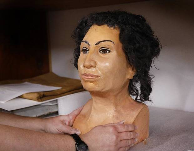 The Mabee-Gerrer Museum of Art unveiled Saturday a 3-D facial reconstruction of its Egyptian mummy Tutu at a special members-only event. [Jim Beckel/The Oklahoman]