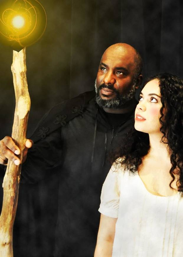 "W. Jerome Stevenson stars as Prospero and Miranda Summar as Miranda in Oklahoma Shakespeare's new production of ""The Tempest."" [Photo by Erin Woods]"