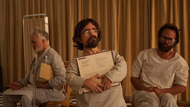 "From left, Bradley Whitford, Peter Dinklage and Walton Goggins star in ""Three Christs."" [IFC Films photo]"