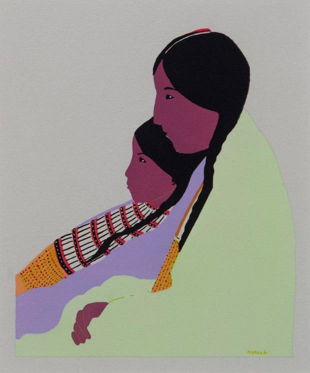"Jack Hokeah's (U.S., Kiowa, 1901-1969) ""Mère Kiowa et son Enfant (Kiowa Mother and her Child)"" is included in the exhibition ""Kiowa Agency: Stories of the Six,"" on view at the Fred Jones Jr. Museum of Art at the University of Oklahoma. [Image provided]"