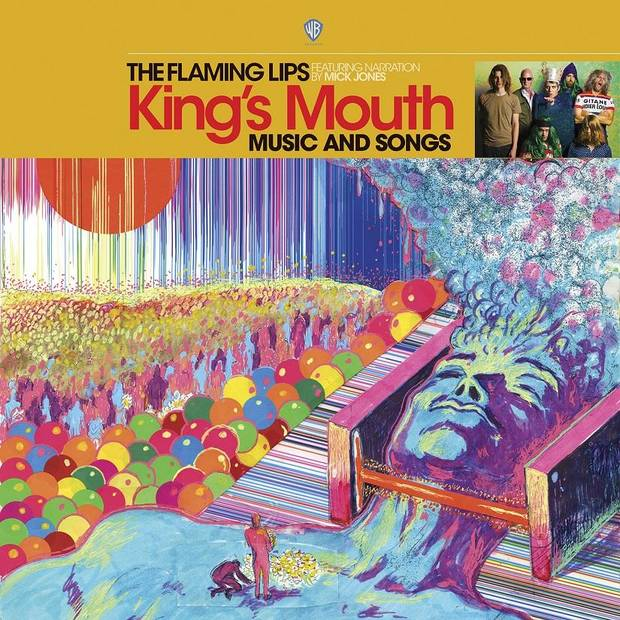 "The Flaming Lips' 15th studio album, ""King's Mouth: Music and Songs,"" will be released this Saturday, which is Record Store Day 2019, in a limited-edition gold vinyl pressing of 4,000 copies. A wider release is planned in July. [Cover art provided by Warner Bros. Records]"