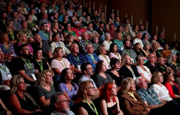 "A sold-out audience watches a screening of the documentary ""Red Dog"" at the Oklahoma City Museum of Art during the 2019 deadCenter Film Festival, Friday, June 7, 2019. Due to the coronavirus pandemic, the 2020 edition of the deadCenter Film Festival will be primarily online. [Doug Hoke/The Oklahoman Archives]"