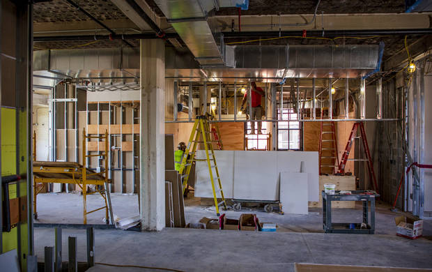 Crews continue construction on Parlor OKC, a new food hall that opens this summer, located at 11 NE 6th St. in downtown Oklahoma City, Okla. on Thursday, May 30, 2019. [Chris Landsberger/The Oklahoman]