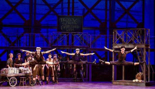 "The cast of Lyric Theatre's production of Disney's ""Newsies"" performs at the Civic Center Music Hall. [Photo by K. Talley Photography]"