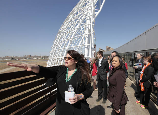 Legislators toured the American Indian Cultural Center and Museum in Oklahoma City in March 2014. The following year, the Legislature voted to return the property to Oklahoma City. The city has since partnered with the Chickasaw Nation to complete the project. [ Photo by David McDaniel, The Oklahoman]