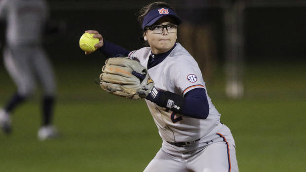 Taylon Snow of Auburn passes the ball while playing against Western Kentucky during an NCAA softball game on Friday, Feb. 8, 2019 in Gulf Shores, Ala. Auburn University beat Western Kentucky University 9-0 (AP Photo/ Dan Anderson )