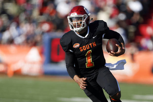 OU football: Jalen Hurts plays in Senior Bowl with 'heavy heart' after grandfather's death