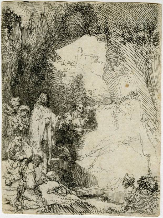 "Rembrandt van Rijn's (Dutch, 1606-1669) 1642 etching ""The Raising of Lazarus: Small Plate"" is included in the exhibit ""Art with a History"" at the Oklahoma City Museum of Art. The piece is a 1965 museum purchase from the Beaux Arts Society Fund for Acquisitions and was bought from Sears. [Image provided]"