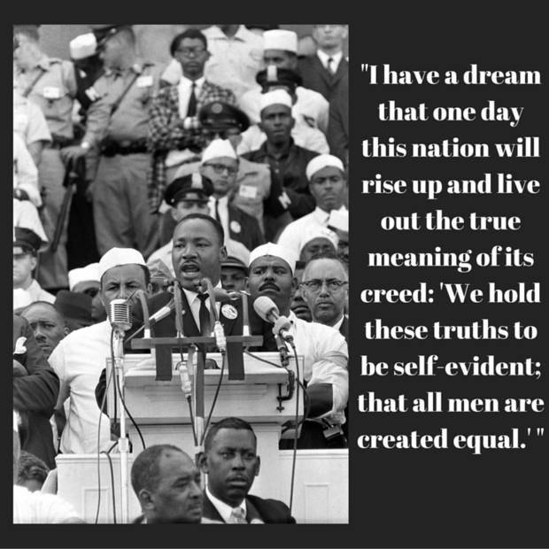 "The Rev. Dr. Martin Luther King Jr. delivers his ""I Have a Dream"" speech in front of thousands of civil rights supporters who gathered in Washington, D.C. [Associated Press photo]"