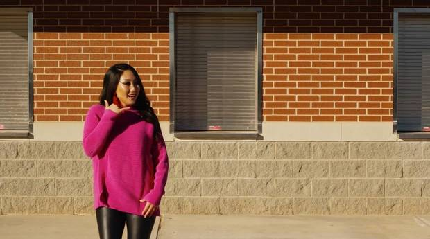 "Jaclyn Gass, of Midwest City, is featured outside Carl Albert High School in the primetime inaugural special ""Celebrating America,"" which aired Wednesday. [Photo provided]"