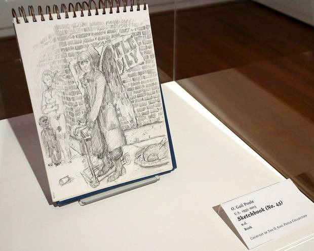 """Sketchbook #45"" by O. Gail Poole is shown at the Fred Jones Jr. Museum of Art, on the University of Oklahoma campus in Norman, Thursday, January 23, 2020. It is part of ""Sideshow,"" an exhibit of works by the late Oklahoma artist that will close Sunday following the museum's temporary closure due to the coronavirus pandemic. [Doug Hoke/The Oklahoman]"