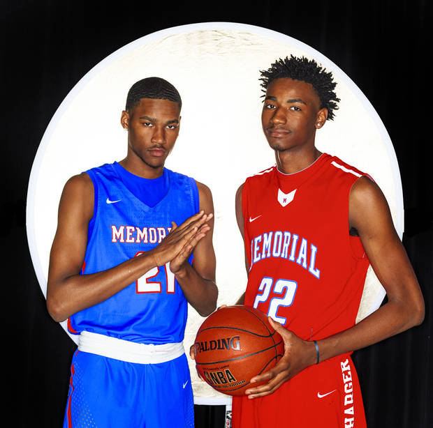 Oklahoma boys Super 5 team member Keylan Boone, left and his twin brother Kalib Boone, of Tulsa Memorial, pose for a photo at The Oklahoman studio in Oklahoma City, Okla. on Thursday, March 28, 2019. Photo by Chris Landsberger, The Oklahoman
