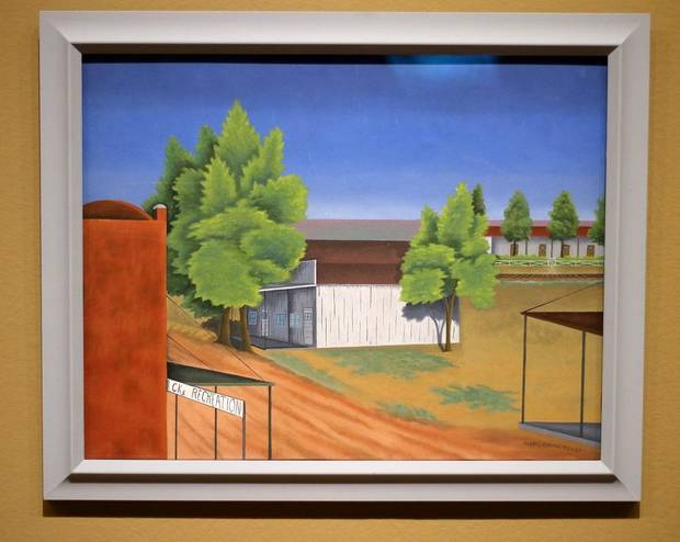 """Street Corner in Texico"" by Pedro Cervantez is featured in the Oklahoma City Museum of Art show ""Renewing the American Spirit: the Art of the Great Depression"" Wednesday, October 30, 2019. [Doug Hoke/The Oklahoman]"