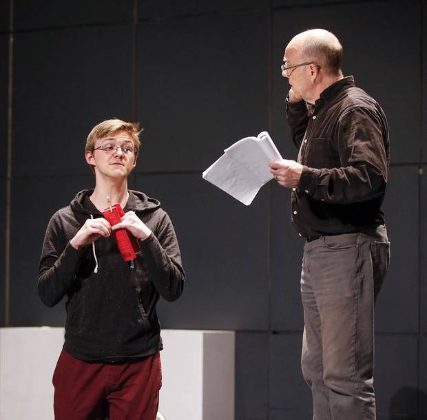 "Cameron Law, left, and David Fletcher-Hall rehearse for CityRep's production of the Tony-winning play ""The Curious Incident of the Dog in the Night-Time"" in the Freede Little Theatre at the Civic Center Music Hall in Oklahoma City, Thursday, March 14, 2019. Photo by Nate Billings, The Oklahoman"