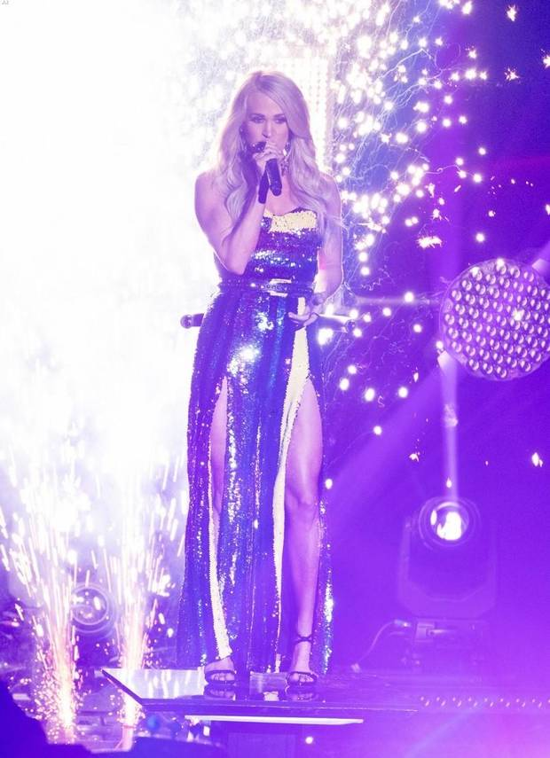 "Carrie Underwood performs ""Southbound"" Sunday on the ""American Idol"" finale. [ABC photo]"