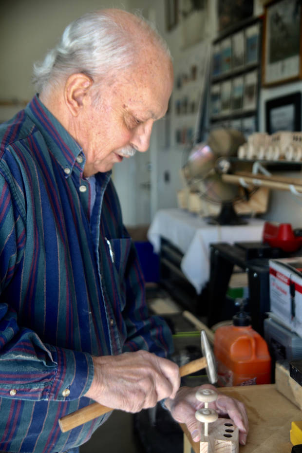 Charles Kietzman creates toys in his garage at Concordia Life Care Community. Photo provided.