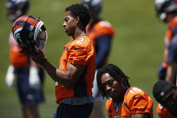 Denver Broncos wide receiver Trinity Benson (2) takes part in drills at the team's NFL football training facility Wednesday, June 5, 2019, in Englewood, Colo. (AP Photo/David Zalubowski)