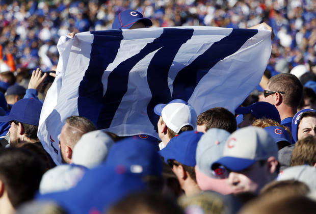 A Chicago Cubs fan holds a flag as he celebrates before a rally in Grant Park honoring the World Series baseball champions in Chicago, Friday, Nov. 4, 2016. (AP Photo/Nam Y. Huh)