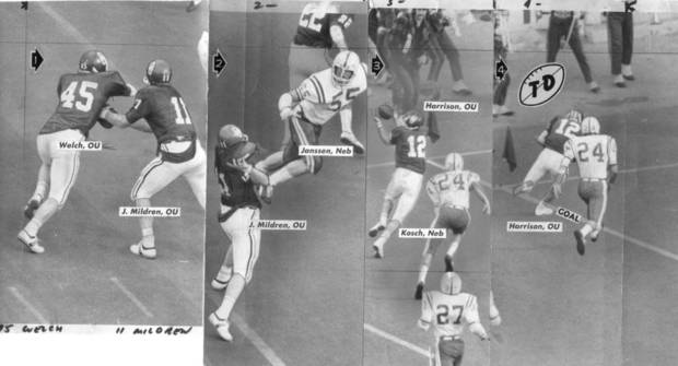 This series of photos shows the sequence of Jack Mildren's touchdown pass to Jon Harrison in the 1971 Nebraska game. (Oklahoma archive photos)