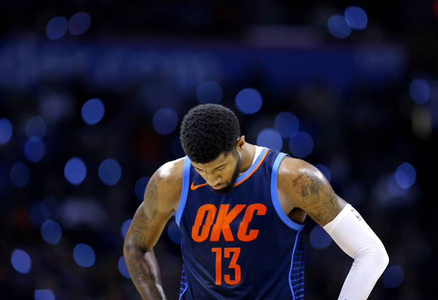 Oklahoma City's Paul George (13) reacts during the NBA game between the Oklahoma City Thunder and the Dallas Mavericks at the Chesapeake Energy Arena, Sunday, Dec. 31, 2017. Photo by Sarah Phipps, The Oklahoman