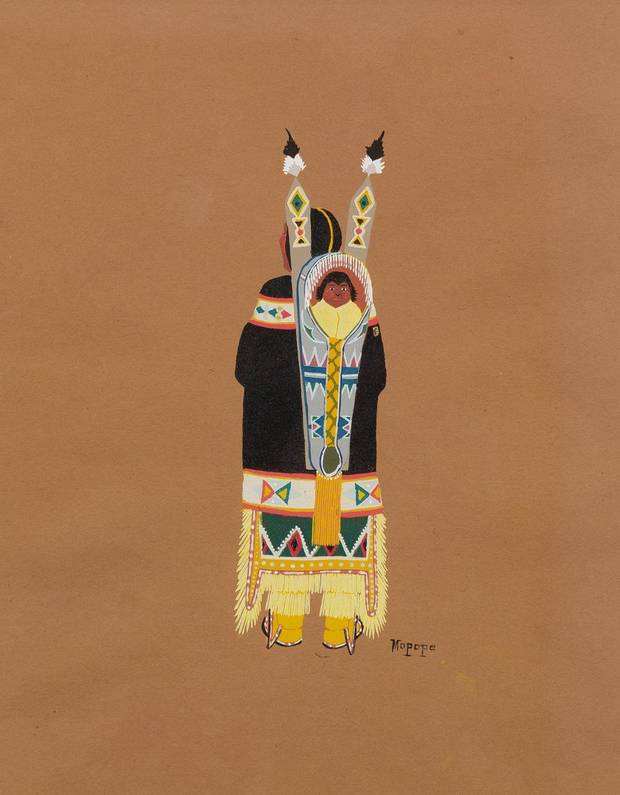 "Stephen Mopope's (Qued Koi) (U.S., Kiowa, 1898-1974) ""Mother and Child"" is included in the new exhibition ""Kiowa Agency: Stories of the Six,"" on view at the Fred Jones Jr. Museum of Art at the University of Oklahoma. [Image provided]"