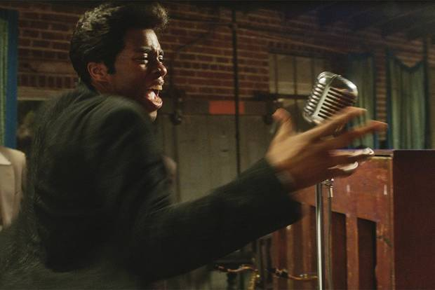 "Chadwick Boseman as James Brown stars in ""Get On Up."" [Universal Pictures photo]"