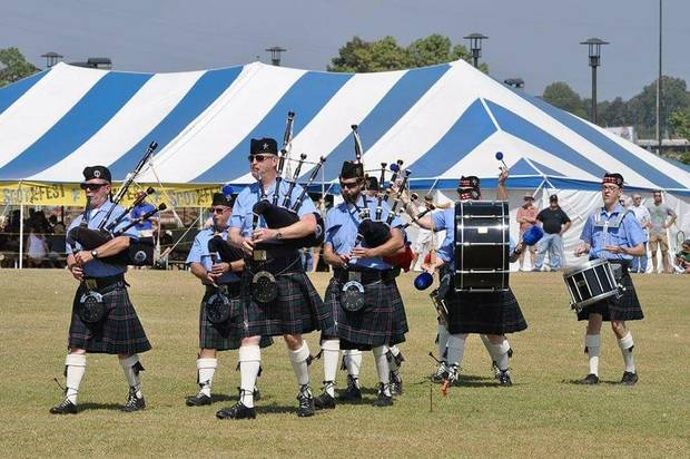Members of the Oklahoma Scottish Pipes & Drums perform at Scotfest in Tulsa in 2017. [Photo provided]