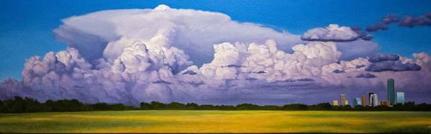 "David Holland's painting ""An Eastern Front Approaches the City"" is on display in his ""Capturing Clouds"" exhibit at the Visitor Center Lobby of the Crystal Bridge in Oklahoma City, Okla. on Monday, July 29, 2019. [Chris Landsberger/The Oklahoman]"