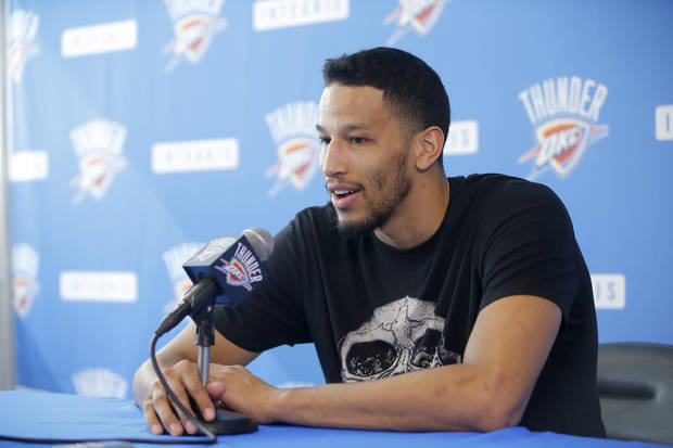 Oklahoma City's Andre Roberson speaks to the media during exit interviews for the Oklahoma City Thunder at the Integris Thunder Development Center in Oklahoma City, Okla., Saturday, April 28, 2018. Photo by Bryan Terry, The Oklahoman