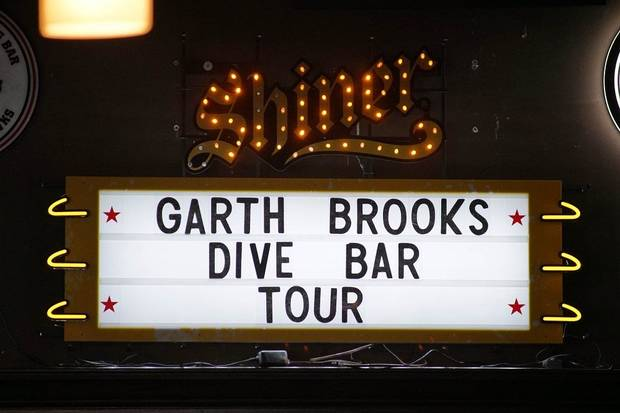 A general view of the marquee for Garth Brooks (not picture} at Joe's in Chicago, Monday, July 15, 2019, on the first stop of his Dive Bar tour. Garth has partnered with Seagram's 7 Crown to secure 700,000 pledges to #JoinThePact, a pledge to never drive impaired. (Photo by Rob Grabowski/Invision/AP)