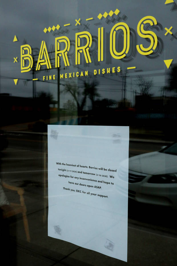 Barrios Fine Mexican Restaurant was closed Tuesday and Wednesday, but hopes to reopen soon. CORONAVIRUS IN OKLAHOMA Tuesday, March 17, 2020. [Photo by Doug Hoke/The Oklahoman]