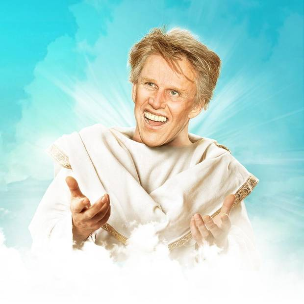 "Gary Busey stars as God in the upcoming off-Broadway musical ""Only Human."" [Poster image via Facebook]"