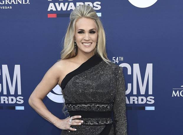 This April 7, 2019, file photo shows Carrie Underwood at the 54th annual Academy of Country Music Awards in Las Vegas. [AP photo]
