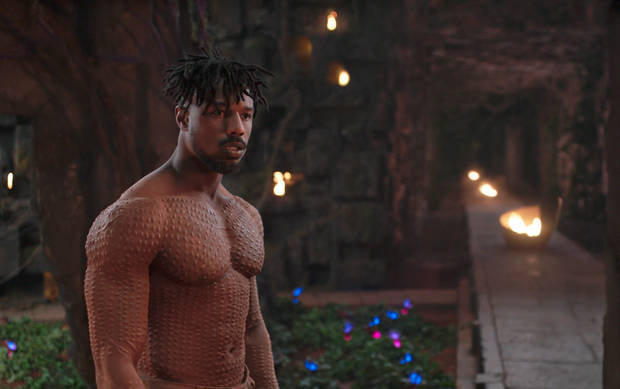"This image released by Disney shows Michael B. Jordan in a scene from Marvel Studios' ""Black Panther."" [Photo provided by Marvel Studios-Disney via AP]"