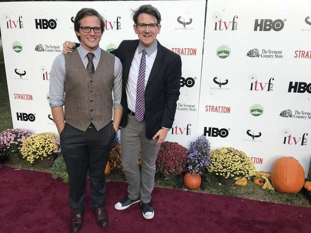 "Brothers Marcus Ross, left, and Lucas Ross walk the red carpet at ITV Fest in Vermont in support of their TV pilot ""Lazy Circles: Welcome to Goshe."" Photo provided"
