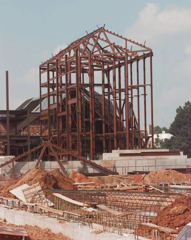 Catlett Music Center, under construction in this photo, opened in 1998.