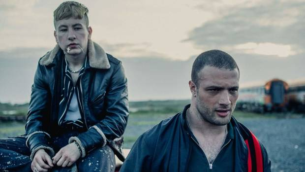 "Barry Keoghan, left, and Cosmo Jarvis star in ""The Shadow of Violence."" [Saban Films]"
