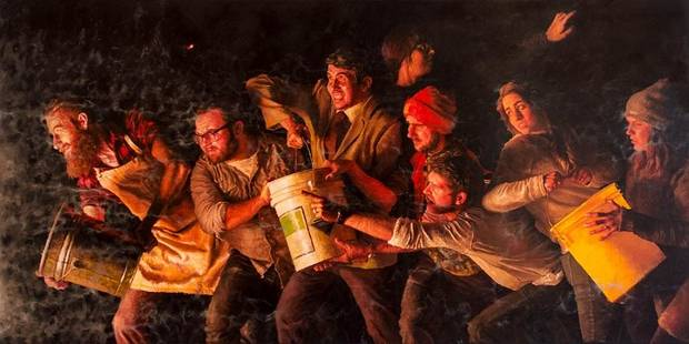 "Lucas Simmons' oil on canvas painting ""Bucket Brigade"" will be featured in the Oklahoma Visual Arts Coalition's ""Momentum"" 2019. [Image provided]"